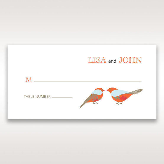 Red Love Birds - Place Cards - Wedding Stationery - 12