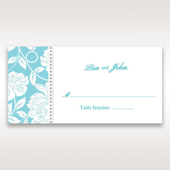 Blue Vintage Floral in Blue - Place Cards - Wedding Stationery - 0