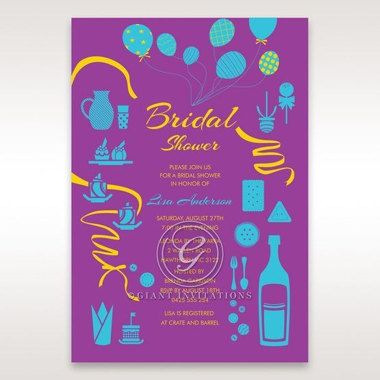 Purple Open the Bubbly - Bridal Shower Invitations - 98