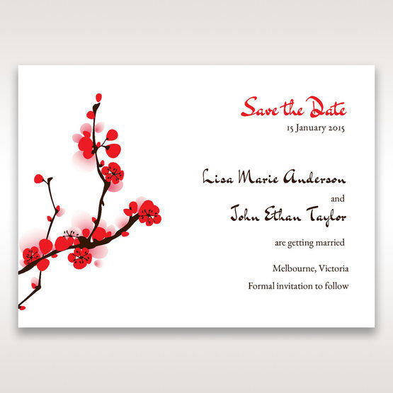 Red Plum Blossoms - Save the Date - Wedding Stationery - 22