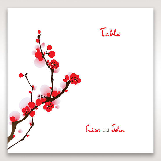 Red Plum Blossoms - Table Number Cards - Wedding Stationery - 24