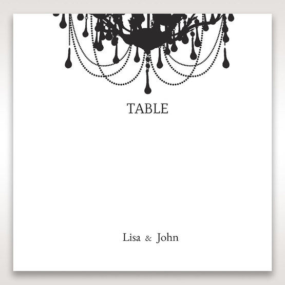Black Black, White Chandelier - Table Number Cards - Wedding Stationery - 72