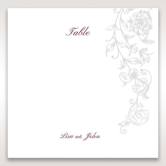 Pink Embossed Romantic Couture, Pink - Table Number Cards - Wedding Stationery - 55