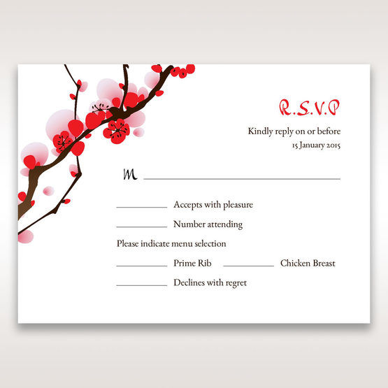 Red Plum Blossoms - RSVP Cards - Wedding Stationery - 46