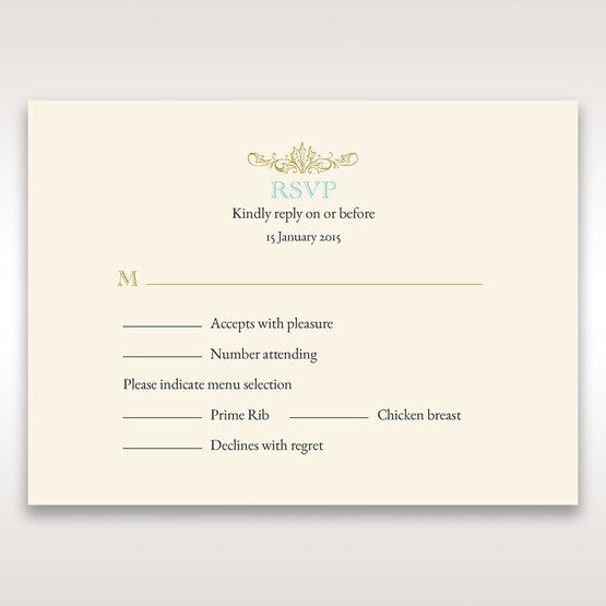 Yellow/Gold Regal Splendor - RSVP Cards - Wedding Stationery - 12