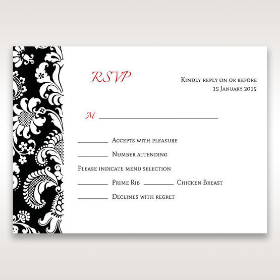 Black Majestic - RSVP Cards - Wedding Stationery - 25