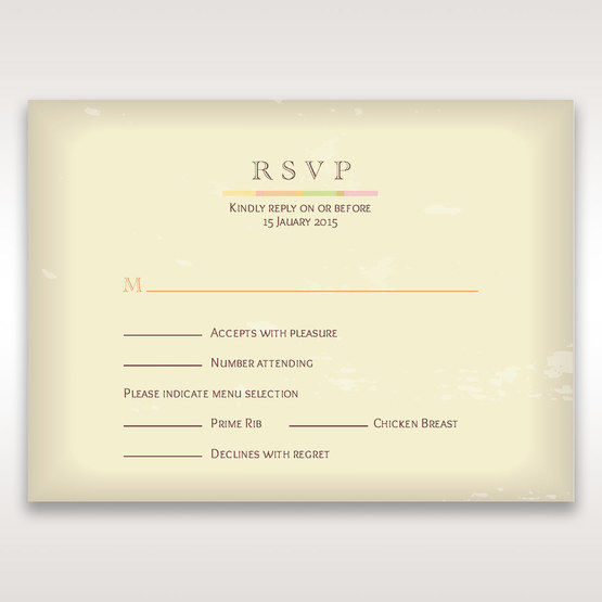 Orange Faded Modern Retro - RSVP Cards - Wedding Stationery - 70