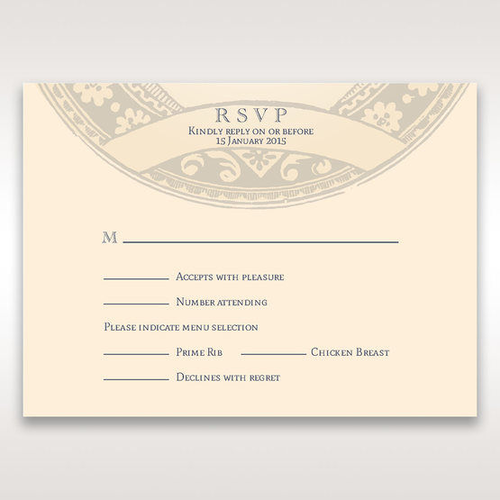 Yellow/Gold Around the Globe with Love - RSVP Cards - Wedding Stationery - 15