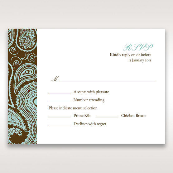 Blue Vintage Swirls - RSVP Cards - Wedding Stationery - 18
