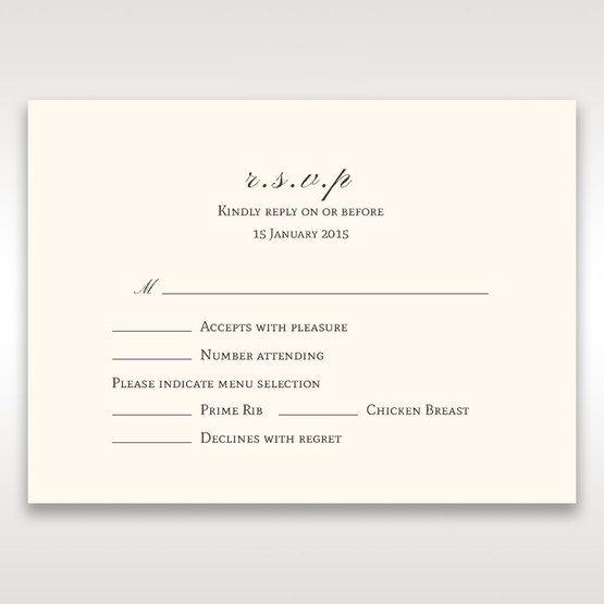 Brown Shimmering Gold Floral Chains - RSVP Cards - Wedding Stationery - 67