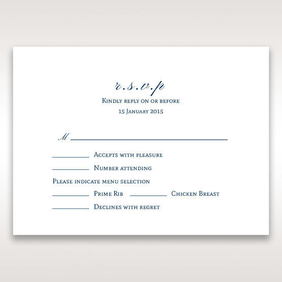Blue Classic Embossed with a Brooch - RSVP Cards - Wedding Stationery - 40