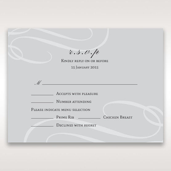 Silver/Gray Elegant Swirls; Silver & White - RSVP Cards - Wedding Stationery - 11