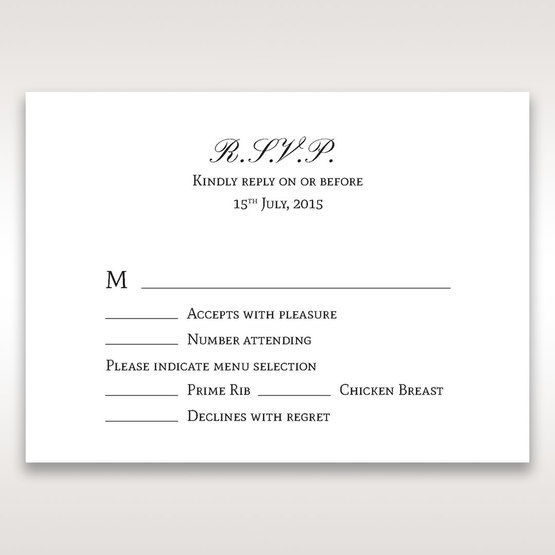 Silver/Gray Kinne White - RSVP Cards - Wedding Stationery - 43