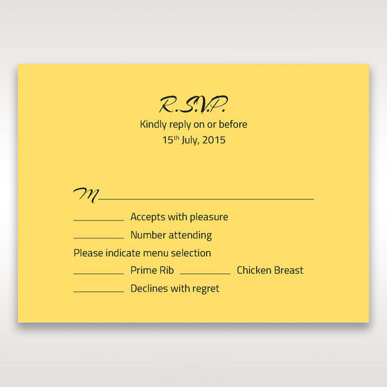 Yellow/Gold Mystic Forest Band Laser Cut - RSVP Cards - Wedding Stationery - 9