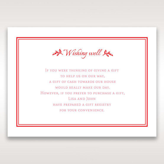 Red Old-fashioned Romance - Wishing Well / Gift Registry - Wedding Stationery - 14