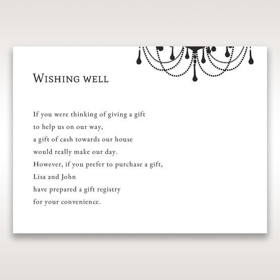 Black Black, White Chandelier - Wishing Well / Gift Registry - Wedding Stationery - 52