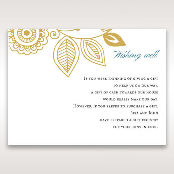Yellow/Gold Splendid Golden Swirls - Wishing Well / Gift Registry - Wedding Stationery - 86