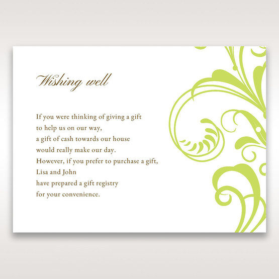 Green Sophisticataed Vintage Swirls - Wishing Well / Gift Registry - Wedding Stationery - 1