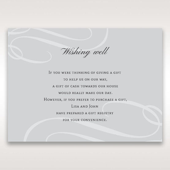 Silver/Gray Elegant Swirls; Silver & White - Wishing Well / Gift Registry - Wedding Stationery - 2