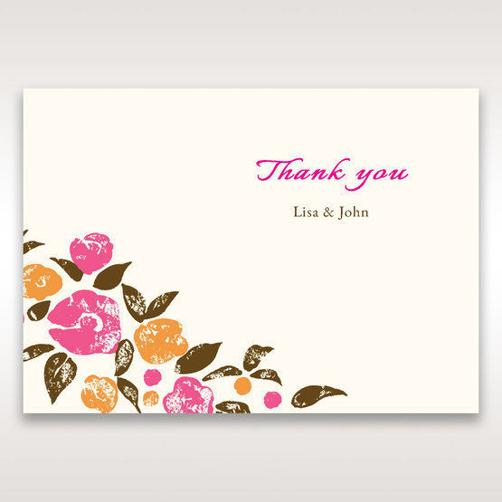 Red Flowers & Gemstones - Thank You Cards - Wedding Stationery - 16