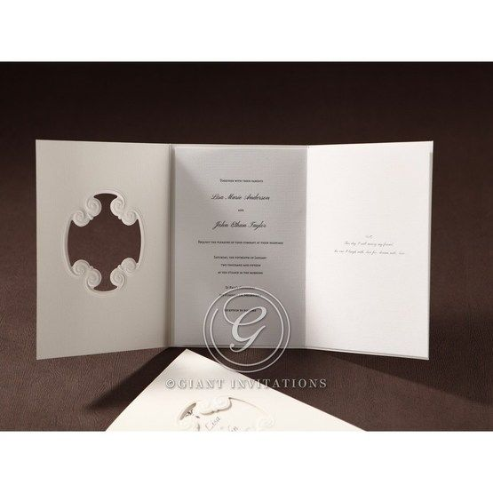 Unfolded view of the tri fold wedding invitation in white canvas paper and thermography print