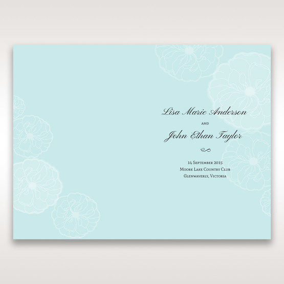 Blue Sculpted White Flower - Order of Service - Wedding Stationery - 94