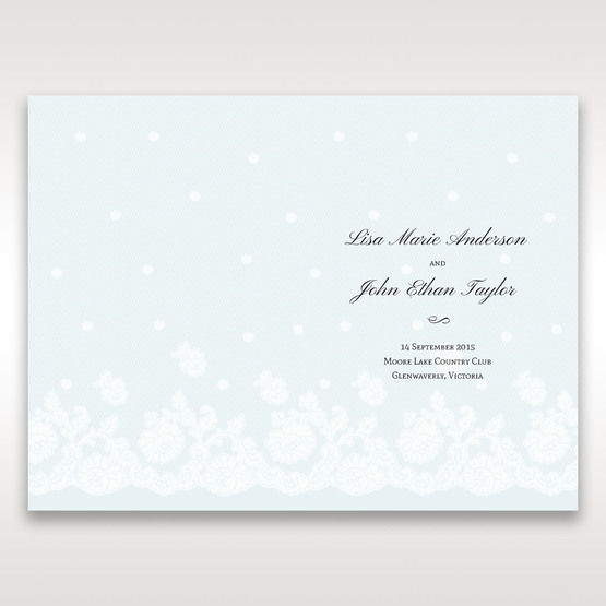 Silver/Gray Floral Couture in Blue & White - Order of Service - Wedding Stationery - 0