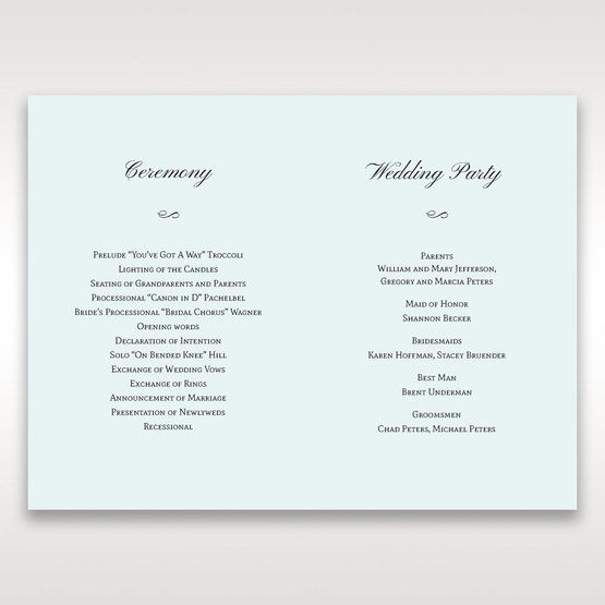 Silver/Gray Floral Couture in Blue & White - Order of Service - Wedding Stationery - 1