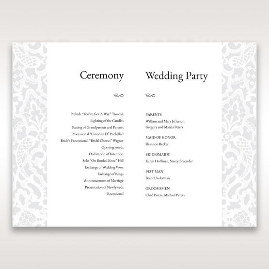 White Elegant Laser Cut - Order of Service - Wedding Stationery - 27