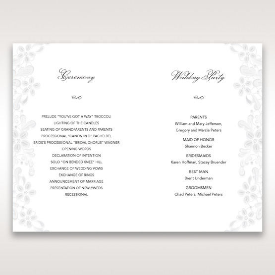 White Laser Cut Floral Wrap - Order of Service - Wedding Stationery - 29