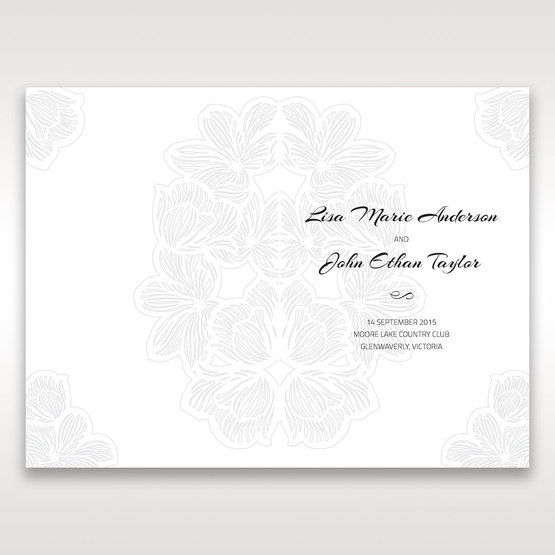 Orange Laser Cut Flower Frame - Order of Service - Wedding Stationery - 82