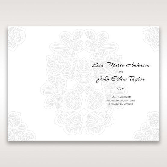 White Laser Cut Flower Frame - Order of Service - Wedding Stationery - 48