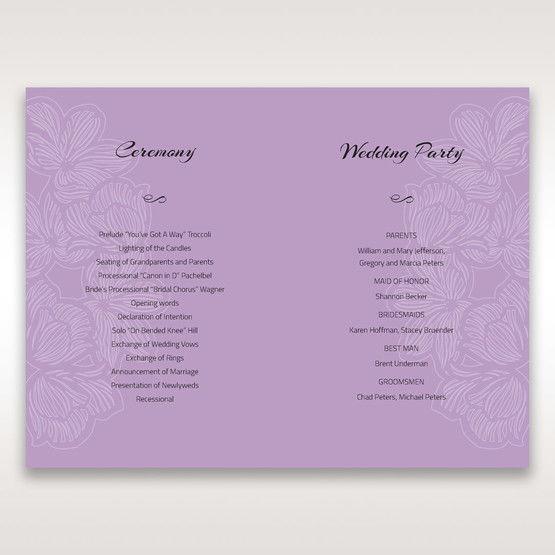 Purple Laser Cut Flower Frame III - Order of Service - Wedding Stationery - 53