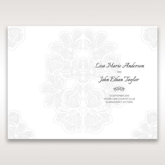 White Laser Cut Floral Lace - Order of Service - Wedding Stationery - 60
