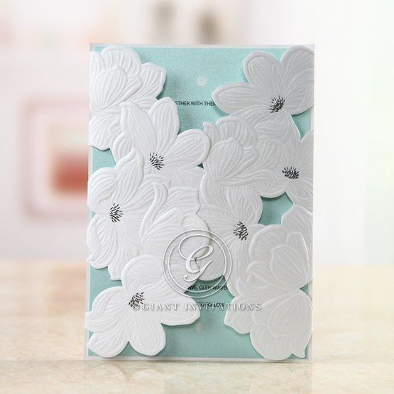 Blue Laser Cut Flower Wrap - Anniversary Cards - 14