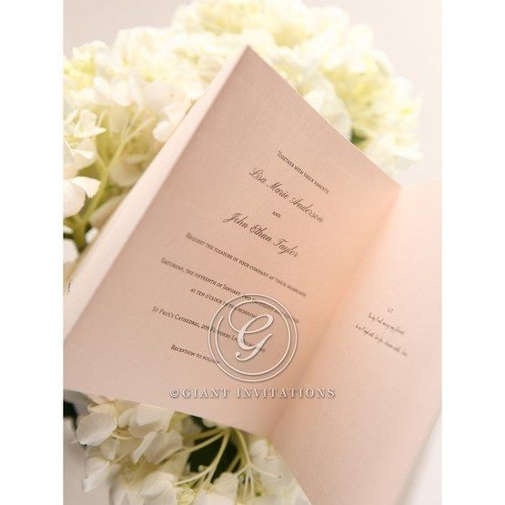 Cropped; pink trifold inner paper with personalsied wording wedding invitation