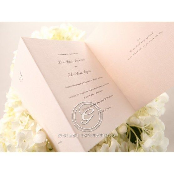Pink trifold inner card with personalised wording wedding invitation