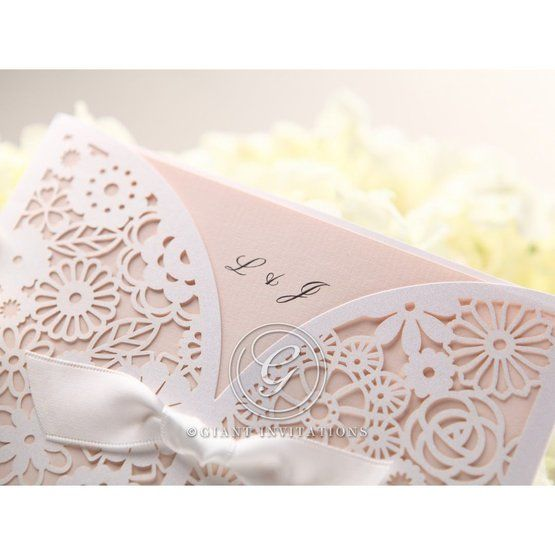 Cropped; monogram of pink floral lasercut wedding invitation