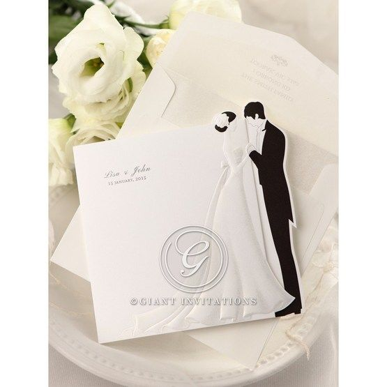 Black and white trifold wedding invitation, bride and groom embossed design with envelope
