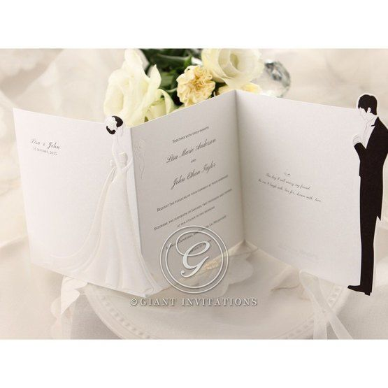 Thermography on trifold black and white wedding invitation
