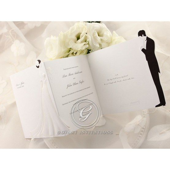 Tri fold bride and groom wedding invitation design, cropped