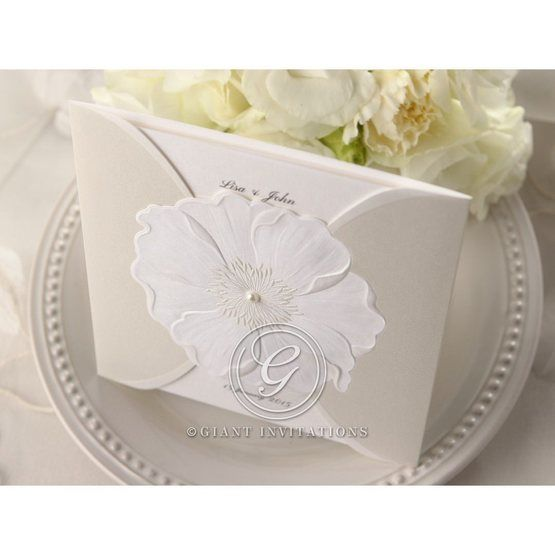 White colored gated pocket invite, embellished flower, embossing design, top view