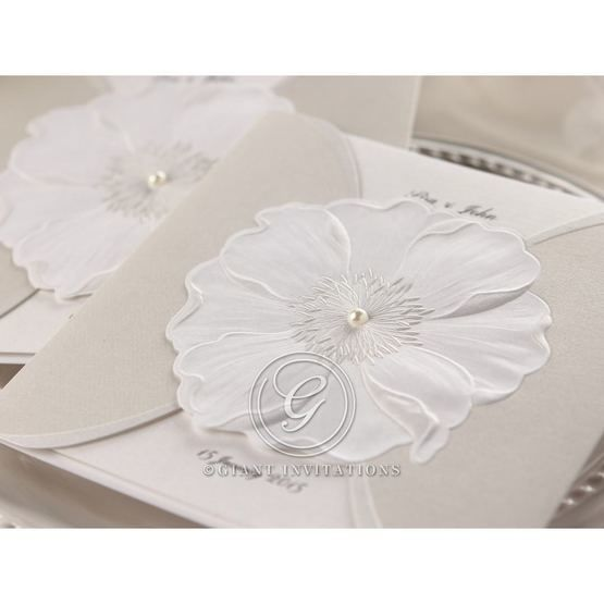 Pure white sculpted jeweled urban flower design , white pocket invite, cropped