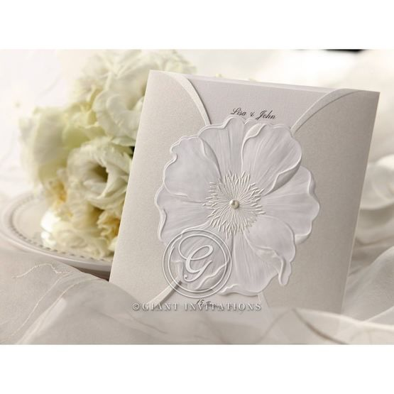 embellished card, gated, white pocket invite, with urban flower design
