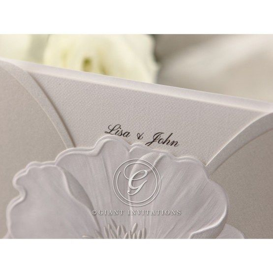 Traditional white inner card,thermography printed,white colored pocket invite, closeup