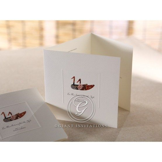 Three panel white invitation with embossed duck design and window border