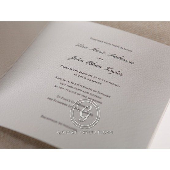 Raised ink lettering in black printed on white three panel card