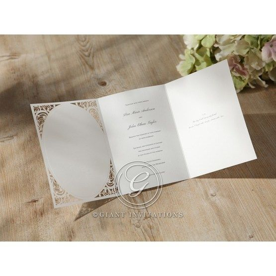 fully opened tri fold wedding card in white matte paper featuring a laser cut edge
