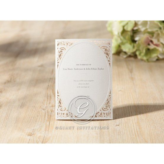 Embossed white laser cut tri fold invitation with oval window