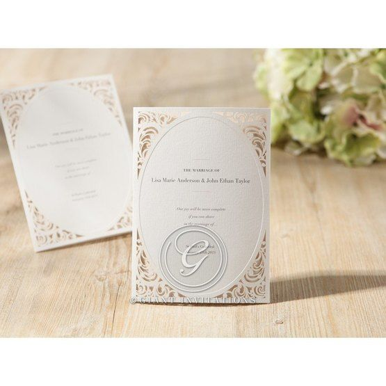 Thermography printed vintage invite with laser cut corners